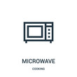 microwave icon vector from cooking collection. Thin line microwave outline icon vector illustration. Linear symbol.