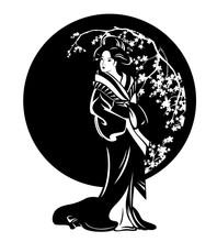 Beautiful Japanese Geisha Girl Wearing Traditional Kimono Standing Among Blooming Sakura Branches Black And White Vector Design