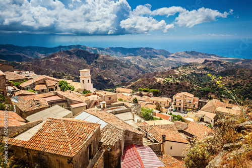 Amasing view on mediterranean sea from Bova superiore antique town in Calabria Canvas Print