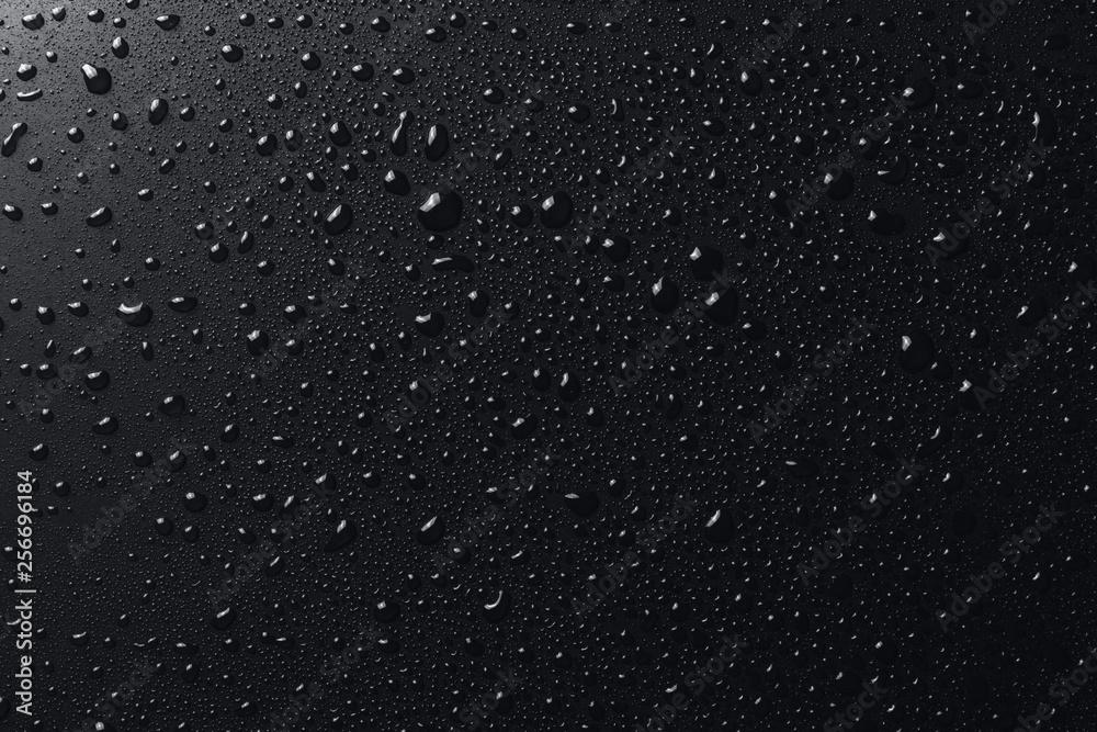 Fototapety, obrazy: Shiny water drops on black surface, background