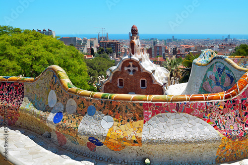 Photo Park Guell by architect Antoni Gaudi in Barcelona, Spain