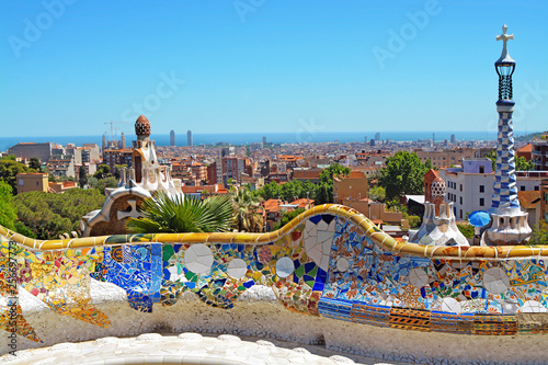Foto op Plexiglas Barcelona Park Guell by architect Antoni Gaudi in Barcelona, Spain