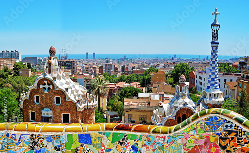 Deurstickers Barcelona Park Guell by architect Antoni Gaudi in Barcelona, Spain