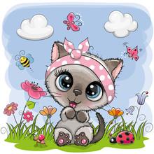 Cute Cartoon Kitten Girl On A Meadow