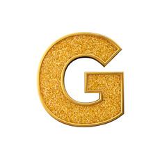 Gold Glitter Letter G. Shiny S...