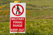 Sign: Military Firing Range Keep Out, Seen On The South West Coast Path Between Worbarrow Bay And Brandy Bay, Jurassic Coast, Dorset, UK