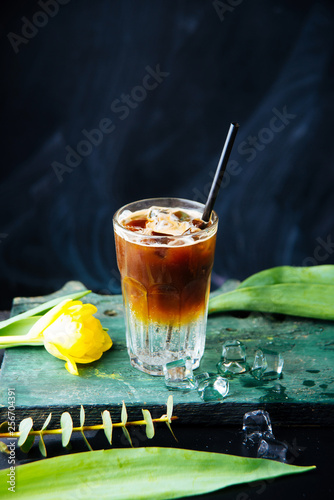 Photographie Vertical image of iced drink on top of soda on black background