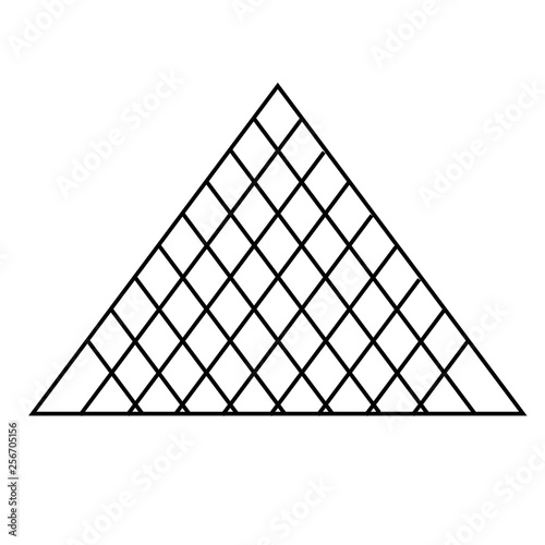 Fotografiet louvre pyramid flat illustration on white