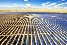 Aerial Photography Of A Large Solar Photovoltaic Power Station In The Desert