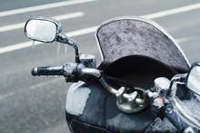 Closeup Of Frozen Motorcycle W...