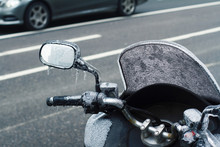 Closeup Of Frozen Motorcycle W...