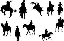 Cowboy Rancher Rodeo Silhouett...