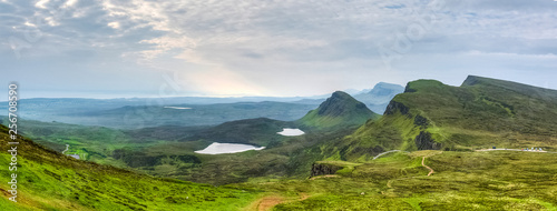Fototapeta Wonderful panoramic view over Isle of Skye's landscape from the Quiraing, Scotla