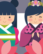 Sweet Japanese Kokeshi Dolls In Kimono