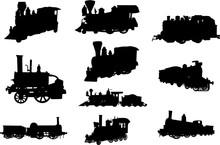 Steam Engine Silhouette Shape Vector