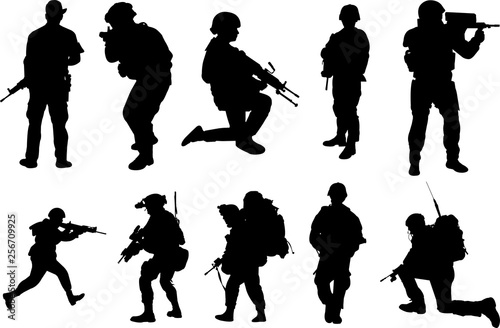 Soldier Silhouette Shape Vector Wallpaper Mural