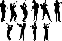 Trumpet Player Silhouette Shap...