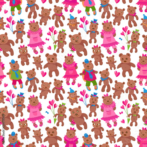 Seamless pattern of vector cartoon animals isolated on a white background. Fu...