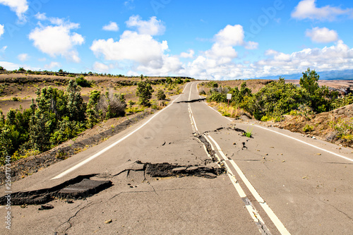 The Damaged asphalt road Crater Rim Drive in the Hawaii Volcanoes National Park Fototapet