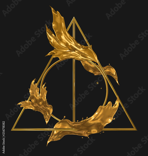 Fotografia Deathly hallows golden sign with splashes of gold