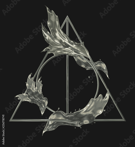 Stampa su Tela Deathly hallows metal silver sign with splashes of silver