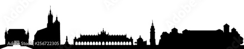 Fototapeta Suspended Land City skyline Cracow / Krakow, Poland in Black on white background obraz