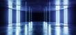 Leinwandbild Motiv Neon Glowing Blue Vibrant Background On Grunge Concrete Asphalt Reflective Spectrum Laser Show Optical Illusion Virtual Reality Empty Dark Sci Fi Futuristic Garage Room 3D Rendering