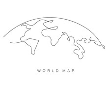 World Map Outline, Eart Day Concept, Vector Illustration