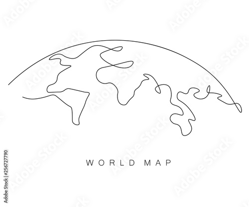 Obraz World map outline, eart day concept, vector illustration - fototapety do salonu