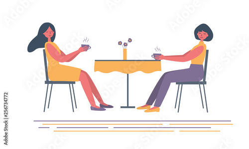 Coffee time. Two girls in the cafe. There are women, sitting at the table and drinking coffee, in the picture. Vector flat illustration in yellow and purple colors.