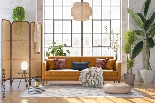 Fotografía 3d rendering of a boho living room