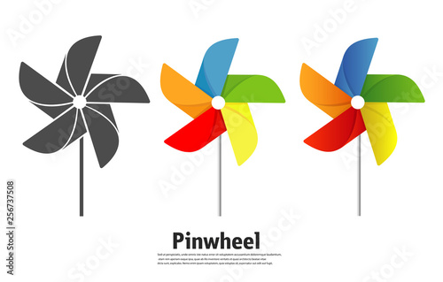 The pinwheel logo flat icon vector illustrations. Canvas Print