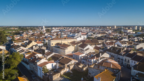 Fototapeta Aerial view of the village of Benavente in Santarem, Ribatejo Portugal