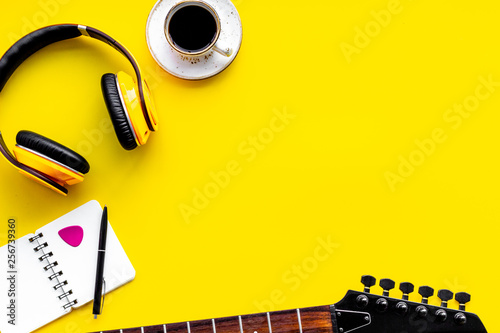 Song writer set with musician and DJ instruments yellow background top view space for text - 256739360