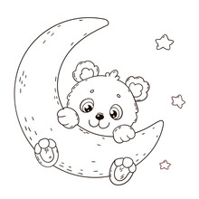 Cute Teddy Bear On Moon. Coloring Book Page