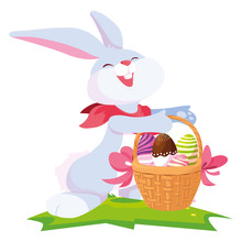 Cute Rabbit Easter With Eggs Painted In Basket