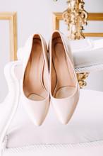 Bridal Boudoir. Pastel Beige High Heel Shoes.
