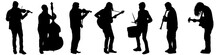 Silhouettes Of Street Musicians Playing Instruments