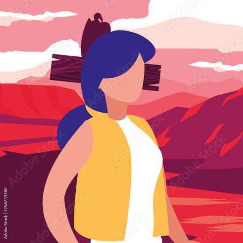 Aluminium Prints young woman in desert landscape dry scene