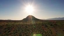 Spectacular Sun Shining Bright Light Rays Over Spring Mojave Desert Green Scrub