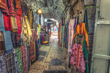 Jerusalem - October 04, 2018: Commerce And Merchants In The Muslim Quarter Of The Old City Of Jerusalem, Israel