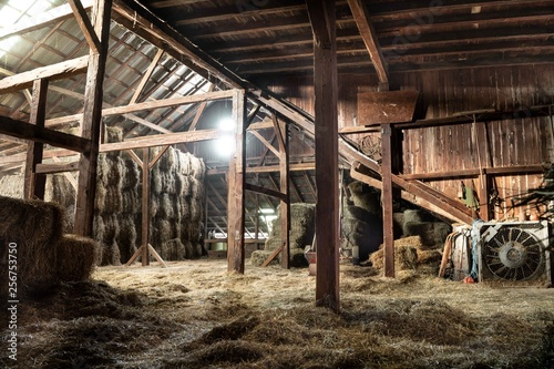 Fotografie, Obraz Barn Interior Wooden Light Beams Hay Bales Rustic
