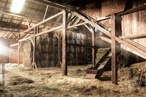 Barn Interior Wooden Light Beams Hay Bales Rustic Poster Mural XXL