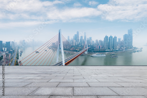 Foto auf AluDibond Rotterdam empty brick floor and cityscape of modern city , chongqing,