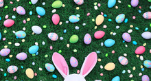 Easter Eggs And Candy With Pink Bunny Ears