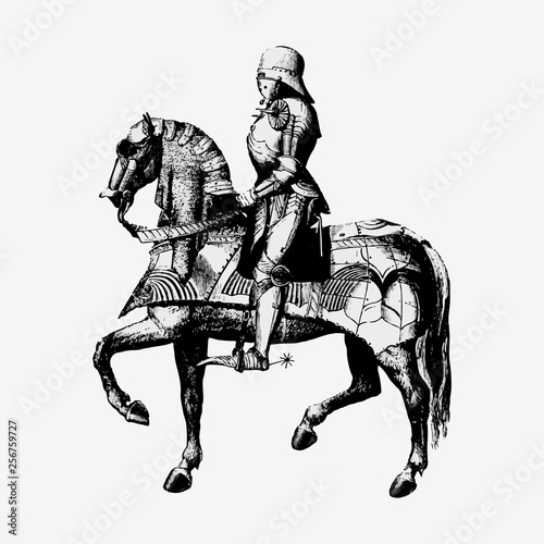 Fotografia Vintage knight on a horseback illustration