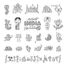 India, Icons Set. Sketch For Your Design