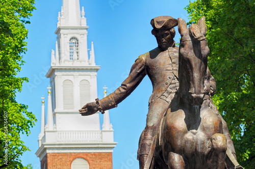 Paul Revere Statue and Old North Church in Boston, Massachusetts Canvas Print