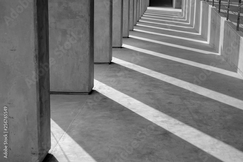The shadow of the plaster pillars that are a pattern