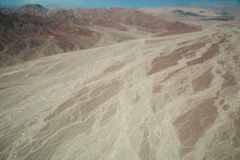 Bed Of Dry Rivers In The Nazca Desert.